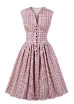 Nihsatin Women's Button Up Split Floral Print Party 1940s 1950s Vintage Swing Dress