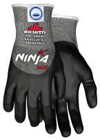MCR Safety Ninja Max N9676GKD Work Gloves, 10 Gauge Dyneema Diamond Blend Shell, Black Foam Bi-Polymer Coating, Large
