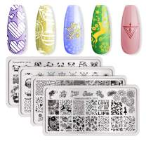 BORN PRETTY 4Pcs Nail Stamping Plate Valentine's Day manicuring Nail Art Image Template DIY Decoration with 2Pcs BORN PRETTY Scrapers for Gift