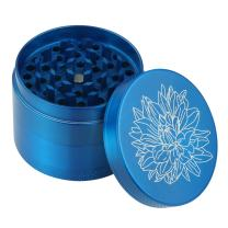 DCOU New Design Premium Zinc Alloy Herb Grinder 2.2 Inches 4 Piece Metal Grinder with Pollen Catcher with Carved Flower (Blue)