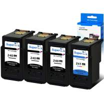 SuperInk 4PK Set High Yield PG-240XL CL-241XL Ink Cartridge Remanufactured (3 Black+1 Tri-Color) for PIXMA MX472 MX452 MG3220 MG3520 MG2220 MX392 MX432 MX512 MG2120 MX522 Series Printer