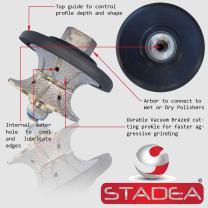 """STADEA Diamond Profile Wheel/Profile Grinding Wheel Full Bullnose 30 MM 1 1/4"""" high for Grinder Polisher Tile Granite marble Concrete Shaping/Diamond Profiling"""