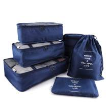 HDWISS 6 Set Cube Packing Bags for Travel Luggage Packing Organizers - Navy Blue