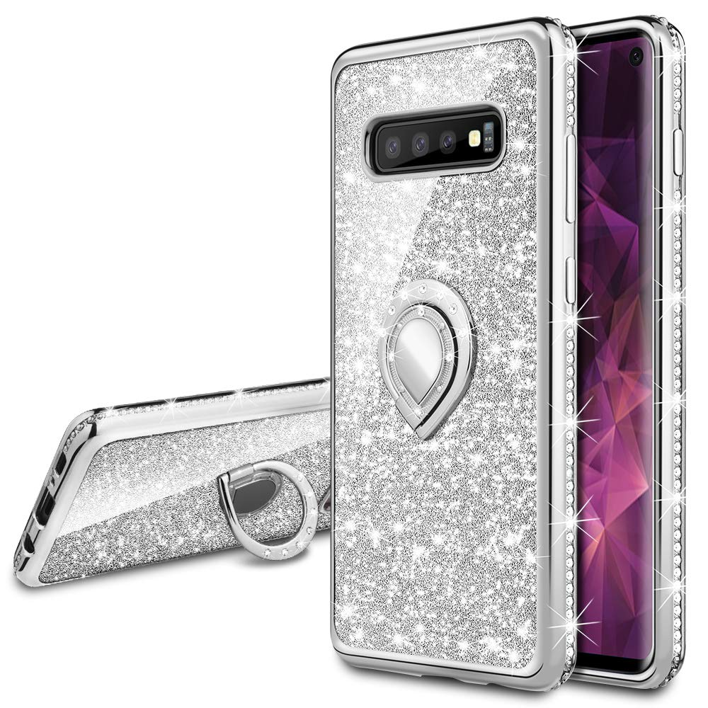 VEGO Galaxy S10 Case Glitter with Ring Holder Kickstand for Women Girls Bling Diamond Rhinestone Sparkly Bumper Shiny Cute Fashion Protective Case for Galaxy S10(Silver)