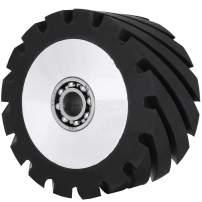 Happybuy 4x2inch Belt Grinder Rubber Wheel Serrated Rubber Contact Wheel 6006 Bearing Belt Grinder Wheel for 2x72inch Knife Making Grinder
