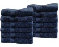 "Cotton & Calm Exquisitely Fluffy Washcloths/Face Cloths Towel Set (12 Pack, 13"" x1 3""), Premium Navy Blue Washcloths - Super Soft, Thick, and Absorbent for Face, Hand, Spa & Gym"