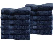 """Cotton & Calm Exquisitely Fluffy Washcloths/Face Cloths Towel Set (12 Pack, 13"""" x1 3""""), Premium Navy Blue Washcloths - Super Soft, Thick, and Absorbent for Face, Hand, Spa & Gym"""
