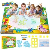 TECBOSS Toddler Toys for Boys Age 2, Water Drawing Mat Large Educational Magic Aqua Doodle Mat Mess-Free Kids Painting Writing Doodle Toy Birthday Gift for Age 2 3 4 5 6 Years Old