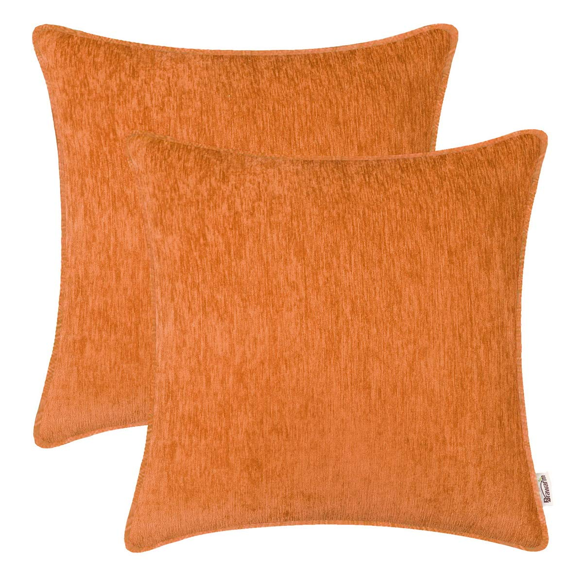 BRAWARM Pack of 2 Cozy Throw Pillow Covers Cases for Sofa Couch Home Decoration Solid Dyed Striped Soft Chenille with Piping 22 X 22 Inches Orange