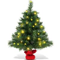 Goplus 2ft Tabletop Christmas Tree, Small Artificial Premium Spruce Tree with 35 Warm White LED Lights, Stable Cement Base, Battery Operated, for Xmas Indoor Decor