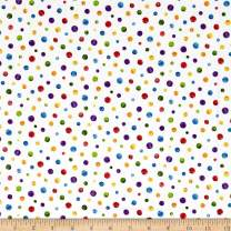 Andover Hungry Caterpillar Dots Multi Fabric by The Yard, Multicolor