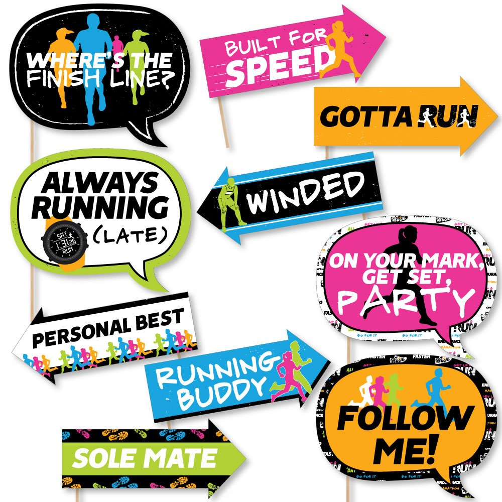 Big Dot of Happiness Funny Set the Pace - Running - Track, Cross Country or Marathon Party Photo Booth Props Kit - 10 Piece