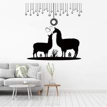 VODOE Llama Wall Decals, Llama Wall Decor,Home Wall Art Decal Suitable for Family Living Room Bedroom Vinyl Contemporary Baby Kids Rooms Vinyl Wall Decor(Black 20.4 X 20.8inches