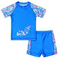 QPANCY Girls Rash Guard 2-Piece Swimsuit Floral Swimwear UPF 50+ Bathing Suits