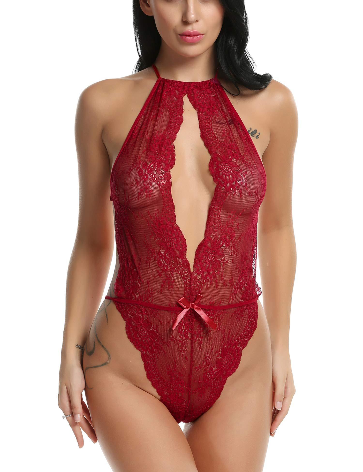 Avidlove Lingerie for Women Teddy One Piece Lace Babydoll Bodysuit