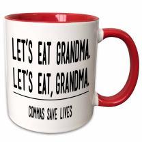 3dRose Lets Eat Grandma-Commas Save Lives Mug, 11 oz, Red