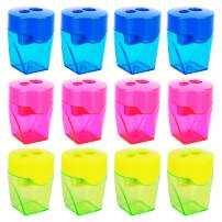Deli 12 Pack Manual Pencil Sharpener, 2 Holes for Standard and Jumbo Pencils, Perfect for Kids & Students, Assorted Colors