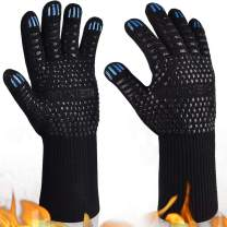 YUXIER Oven Gloves, Hot BBQ Grill Gloves,1472°F Oven Mitts for Cooking, Grilling, Kitchen, Smoker Baking, Barbecue, Fireplace, Welding, Cutting 1 Pair (13.8inch, Black) …