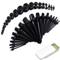 BodyJ4You 37PC Gauges Kit Ear Stretching Aftercare Balm 14G-00G Acrylic Taper Plug Piercing Jewelry
