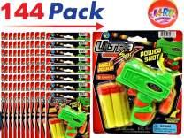JA-RU Ultra Foam Dart Gun (144 Packs) Super Mega Powerful Shotgun Blaster Shot Handgun Party Favor Pinata Fillers. Plus 1 Ball | Item #5483-144p