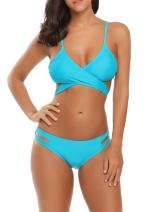 Ekouaer Sexy Brazilian Bandage Bikini Set Halter Swimsuit for Women