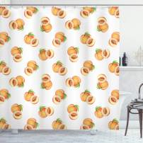 """Ambesonne Peach Shower Curtain, Vegetative Growth Botany Pattern Orange Drupes Freshly Picked from The Trees, Cloth Fabric Bathroom Decor Set with Hooks, 84"""" Long Extra, Orange Green"""