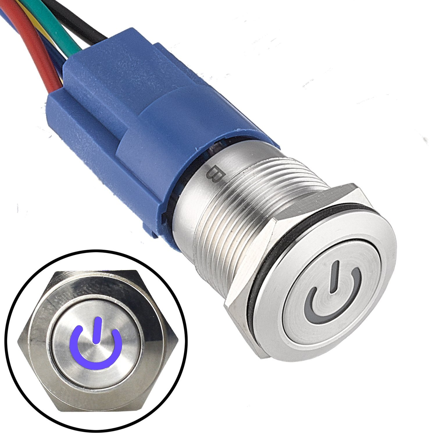 """APIELE [3 Year Warranty] 19mm Latching Push Button Switch 3/4"""" 12V DC Power Symbol LED with Socket Plug 1NO1NC SPDT ON/Off( Blue)"""