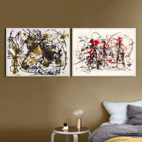INVIN ART Combo Painting 2 Pieces by Jackson Pollock Framed Canvas Giclee Print Art Abstract Wall Art Series #6(White Slim Frame,20x24Each Piece)