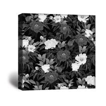 wall26 Square Canvas Wall Art - Flowers in Black and White - Giclee Print Gallery Wrap Modern Home Decor Ready to Hang - 16x16 inches