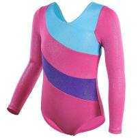 BAOHULU Gymnastics Leotard for Girls Sparkle Metallic Black Purple Athletic Dance Clothes