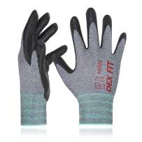 DEX FIT Nitrile Work Gloves FN330, 3D Comfort Stretch Fit, Durable Power Grip Foam Coated, Smart Touch, Thin Machine Washable, Grey Small 12 Pairs Pack