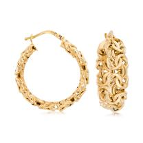 Ross-Simons Italian 14kt Yellow Gold Byzantine Hoop Earrings For Women Made in Italy