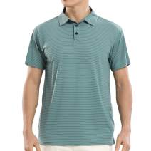 COSSNISS Men's Dry Fit Short Sleeve Golf Polo Shirs - Athletic Polyester Striped Polo Shirts for Men