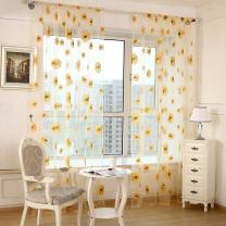 "SHZONS 39.37""x78.74"" Sunflower Sheer Transparent Door Balcony Window Screen Curtain Tulle Panel Voile Drapes Valance(Yellow)"