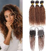 Light Brown Two Tone Ombre Kinkly Curly Bundles with Lace Closure Human Hair Kinkly Curly Bundles with Closure with Baby Hair 4x4 Curly Closure 1b30