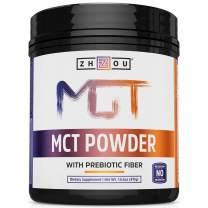 Zhou MCT Powder With Prebiotic Acacia Fiber | Zero Net Carbs | Keto Friendly Fat & Fiber Source | Easy To Digest | 45 Servings, 14.5 Oz