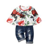 Baby Girls Pants Set Infant Ripped Jeans Floral Long Sleeve T Shirt Tops Toddler Ruffle Outfits for 18M-6Y