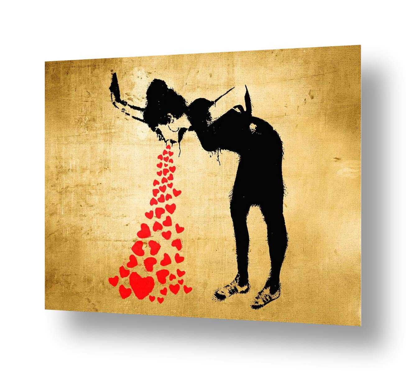 Unique Collage #156 Always Hope Flower Thrower by Banksy Ready to frame Alonline Art | 16x12-41x30cm print on canvas Wall art home decor for bedroom giclee picture HD synthetic, Rolled