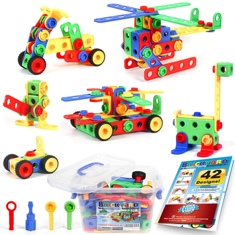 101 Piece STEM Toys Kit, Educational Construction Engineering Building Blocks Learning Set for Ages 3 4 5 6 7 8 9 10 Year Old Boys & Girls by Brickyard, Best Kids Toy, Creative Games & Fun Activity