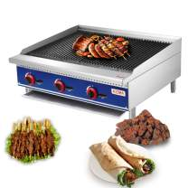 """Natural Gas Lava Rock Charbroiler - KITMA 36"""" Countertop Charbroiler with Stainless Steel Gas Barbecue Grill - Restaurant BBQ Equipment, 105000 BTU"""