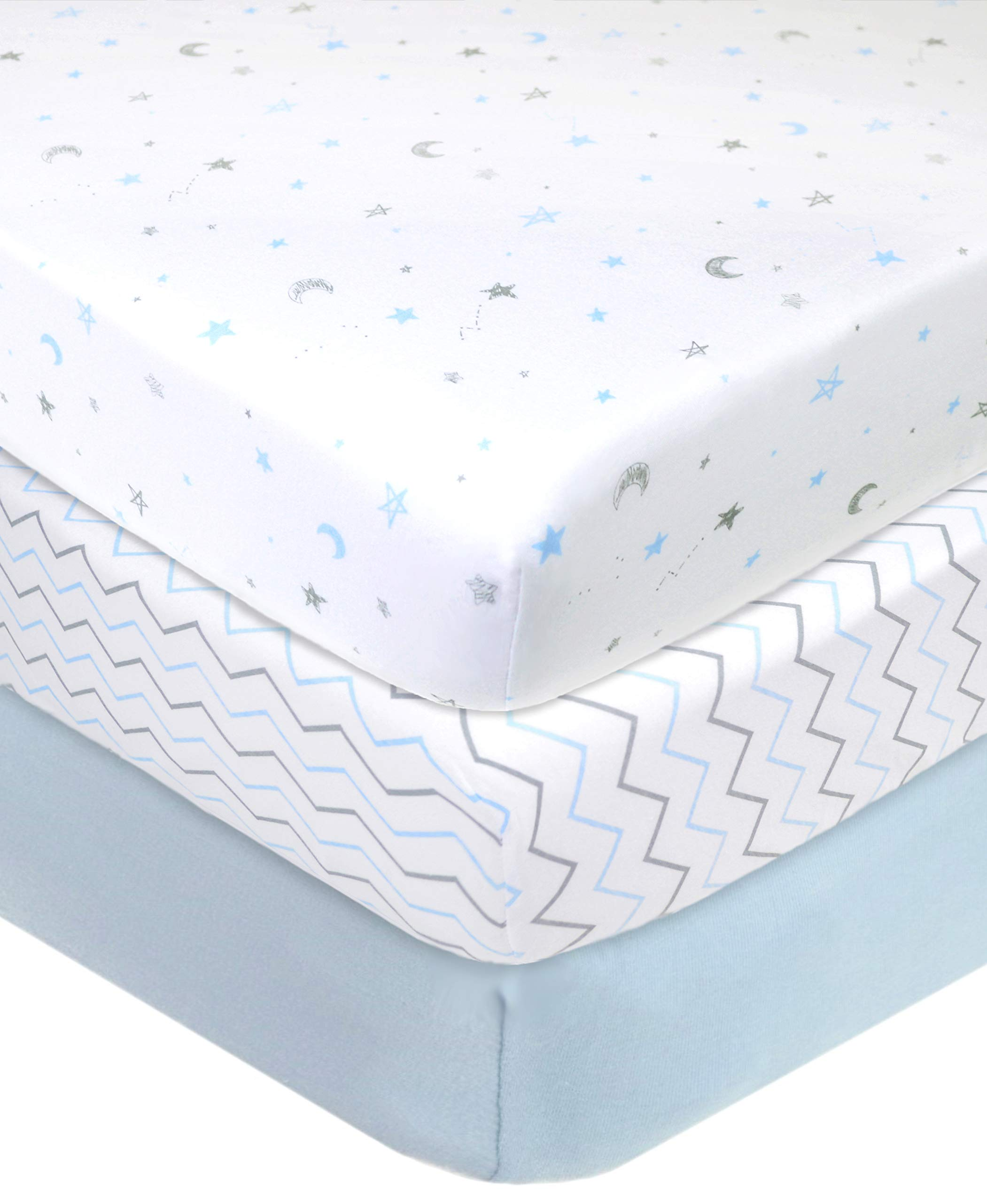 """American Baby Company 100% Natural Cotton Value Jersey Knit Fitted Portable/Mini-Crib Sheet, Blue Star/Zigzag, 24"""" x 38"""" x 5"""", Soft Breathable, for Boys and Girls, Pack of 3"""