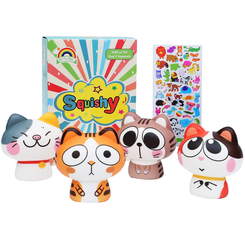 AOLIGE Stuffers Kids Party Decoration 4pcs Cat Squishies Party Favors Animals Toys Table Decorations for Kids