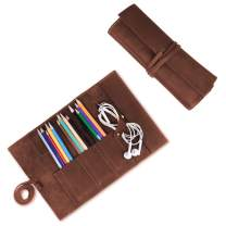 Leather Pen Pouch Pen Bag Storage Organizer, Leather Roll Up Pencil Case by Jack&Chris, Brown