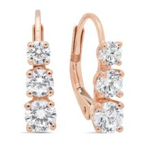 2.70 CT 3 Stone ROUND CUT Simulated Diamond Earrings 14K Rose Gold Past Present Future Leverback