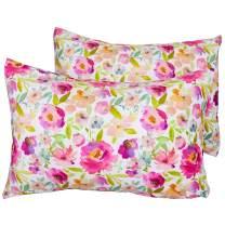 "MHJY Toddler Pillowcase 2 Pcs Soft Fleece Little Kids Pillow Cover Fits 13""x 18"",14""x 19""Pillows, Envelope Travel Pillow Case Cover,Fuchsia Floral"