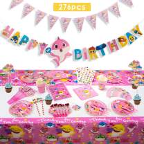 Baby Cute Shark Party Supplies Set - 276 Pcs Shark Baby Birthday Decorations - Disposable Tableware Cake Topper Gift Bag Pennant Plates Spoon Cups Napkins Straws Shark Temporary Tattoos For Kids Girl Birthday Carnival Party - Pink