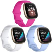 Witzon 3 Pack Bands Compatible with Fitbit Sense/Fitbit Versa 3, Waterproof Soft Silicone Sport Straps Replacement Wristbands for Women Men, Small - Rose/White/Lilac