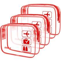 ANRUI Clear Toiletry Bag TSA Approved Travel Carry On Airport Airline Compliant Bag Quart Sized 3-1-1 Kit Travel Luggage Pouch 3 Pack (Red)