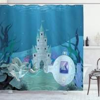 "Ambesonne Ocean Shower Curtain, Fairytale Mermaid Castle with Dolphins Moss Fish Sun Beams Art Print, Cloth Fabric Bathroom Decor Set with Hooks, 75"" Long, Turquoise Teal"