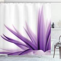 """Ambesonne Flower Shower Curtain, Purple Ombre Style Long Leaves Water Colored Print with Calming Details Image, Cloth Fabric Bathroom Decor Set with Hooks, 75"""" Long, Purple White"""